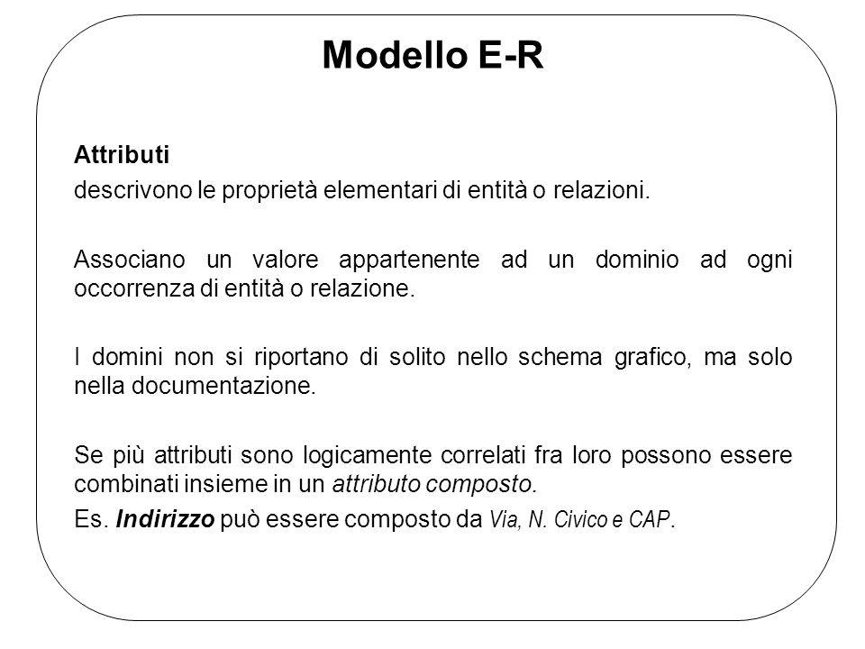 Modello E-R Attributi. descrivono le proprietà elementari di entità o relazioni.