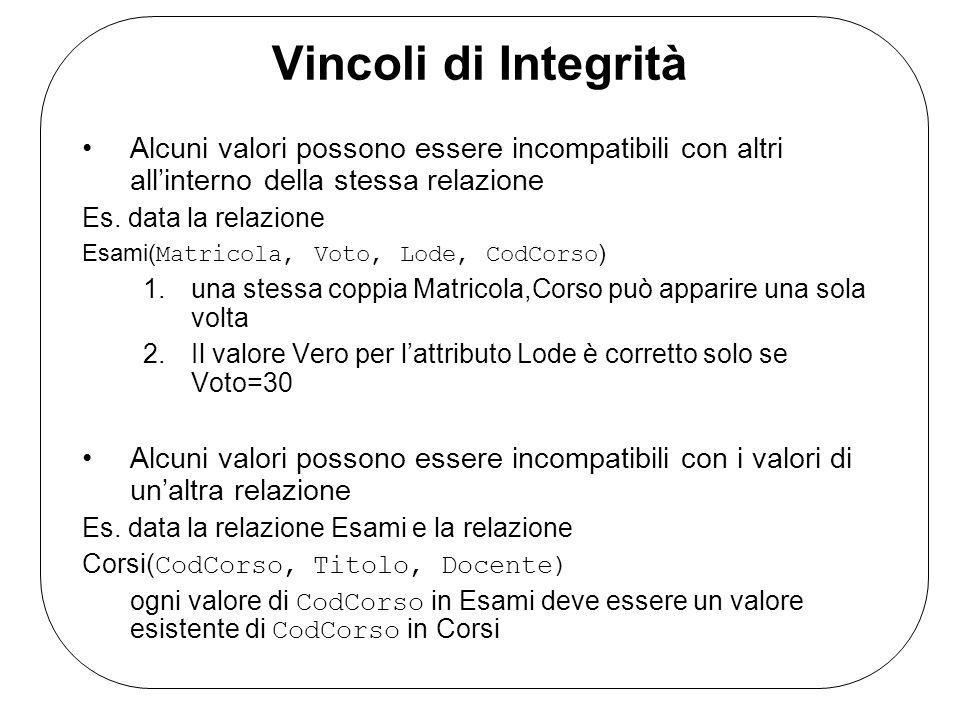 Vincoli di Integrità Alcuni valori possono essere incompatibili con altri all'interno della stessa relazione.
