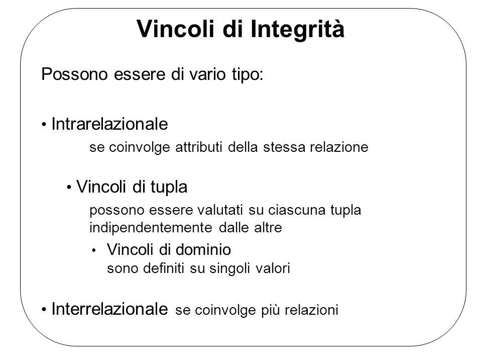 Vincoli di Integrità Possono essere di vario tipo: Intrarelazionale