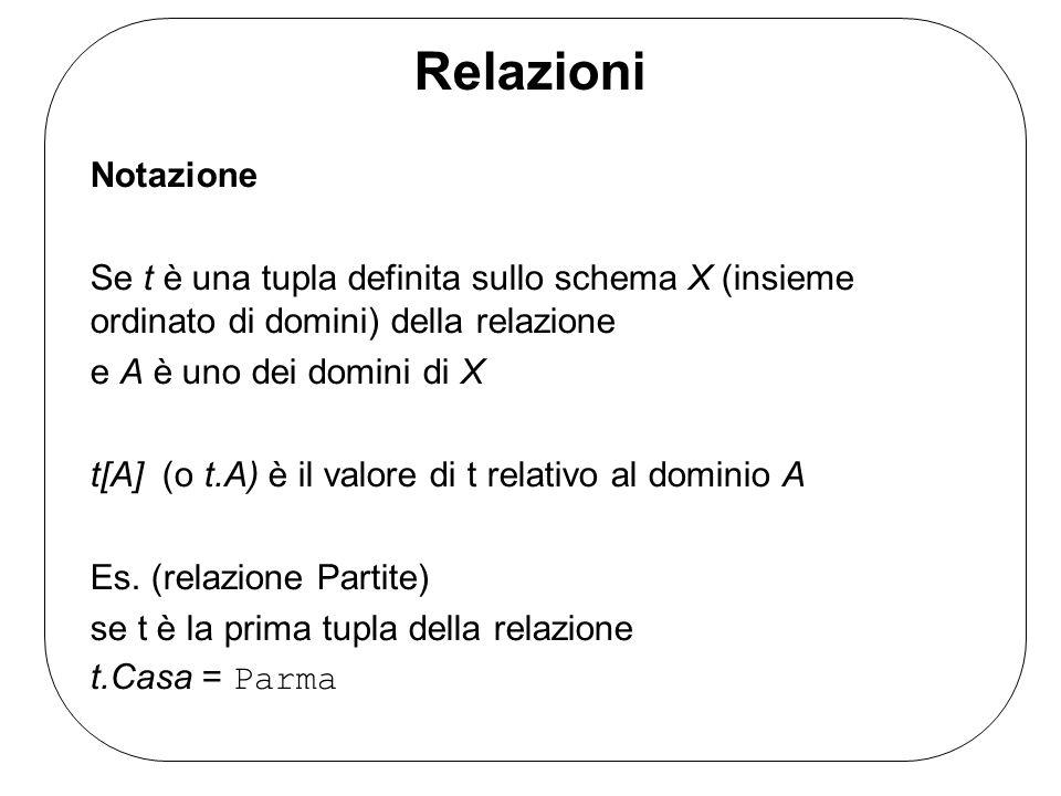 Relazioni Notazione. Se t è una tupla definita sullo schema X (insieme ordinato di domini) della relazione.