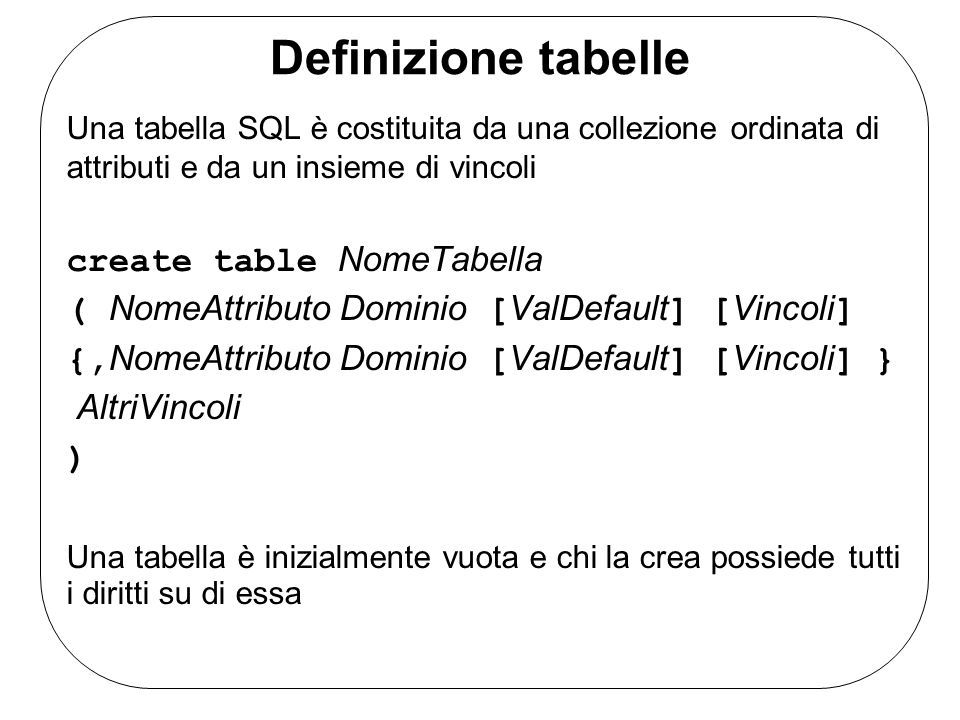 Definizione tabelle create table NomeTabella