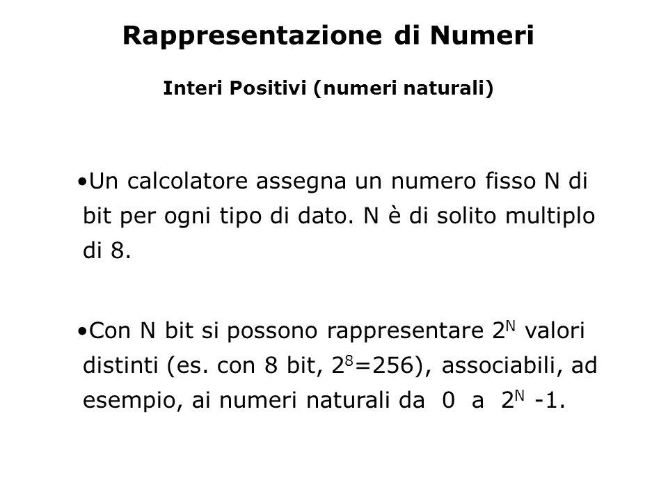 Rappresentazione di Numeri Interi Positivi (numeri naturali)