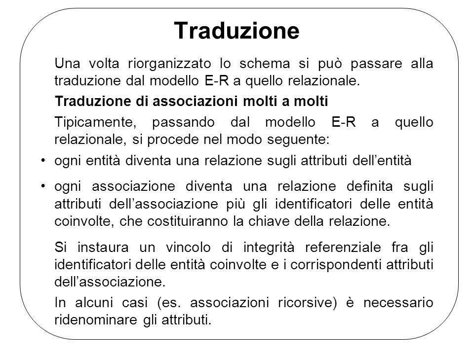 Traduzione Una volta riorganizzato lo schema si può passare alla traduzione dal modello E-R a quello relazionale.