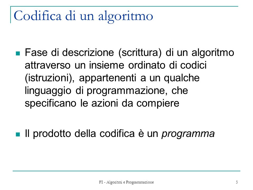 Codifica di un algoritmo