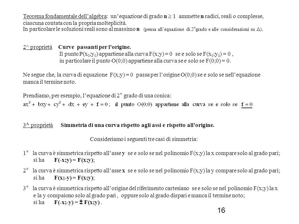 Teorema fondamentale dell'algebra: un'equazione di grado n  1 ammette n radici, reali o complesse, ciascuna contata con la propria molteplicità.