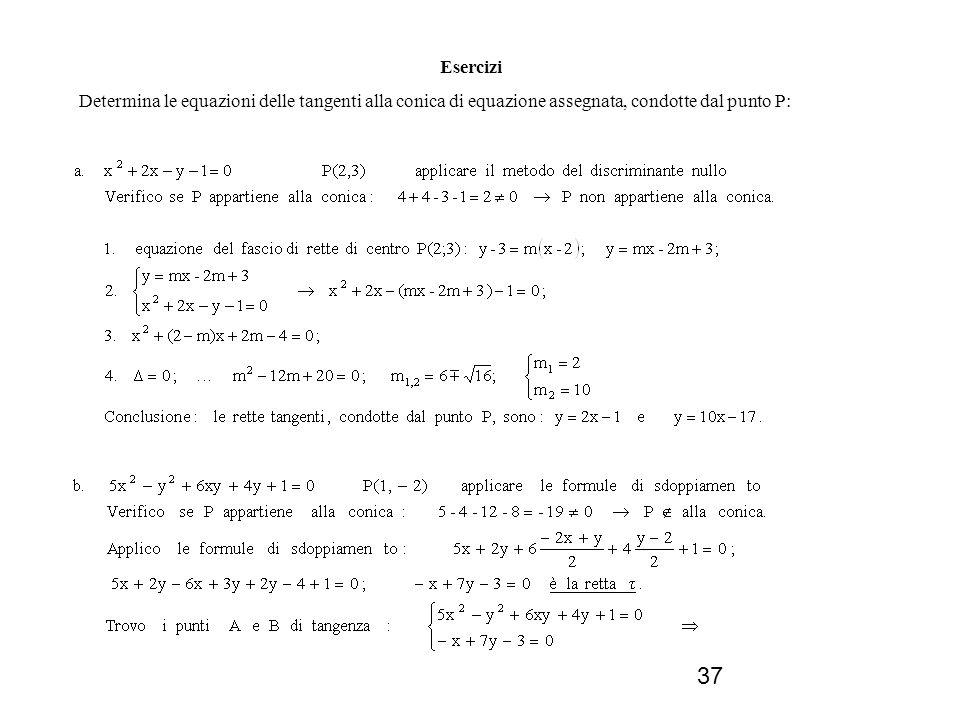 Esercizi Determina le equazioni delle tangenti alla conica di equazione assegnata, condotte dal punto P: