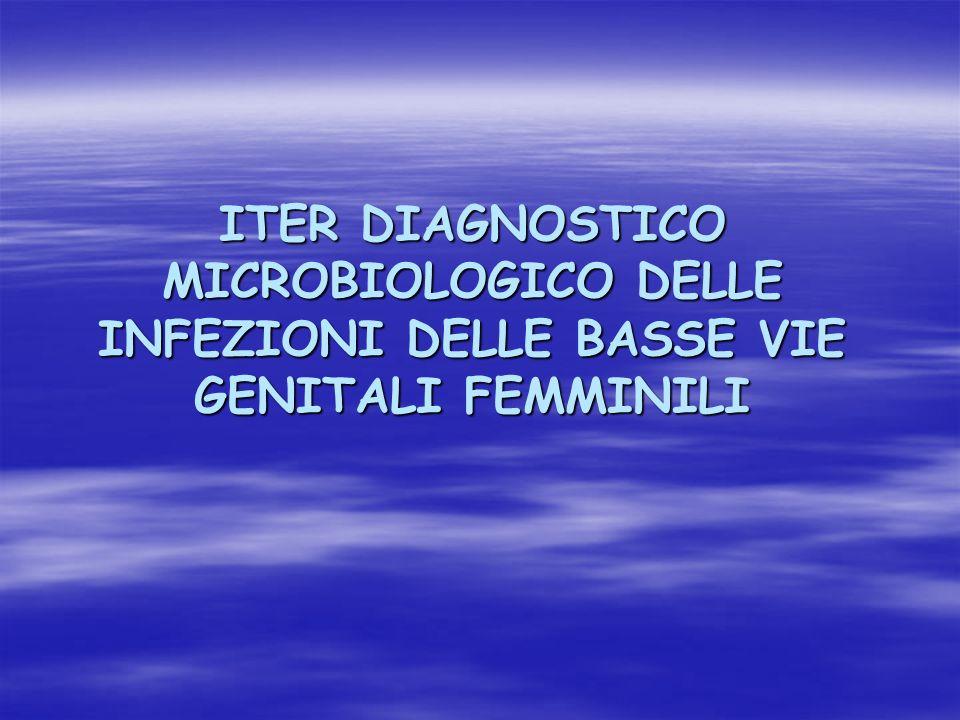 ITER DIAGNOSTICO MICROBIOLOGICO DELLE INFEZIONI DELLE BASSE VIE GENITALI FEMMINILI