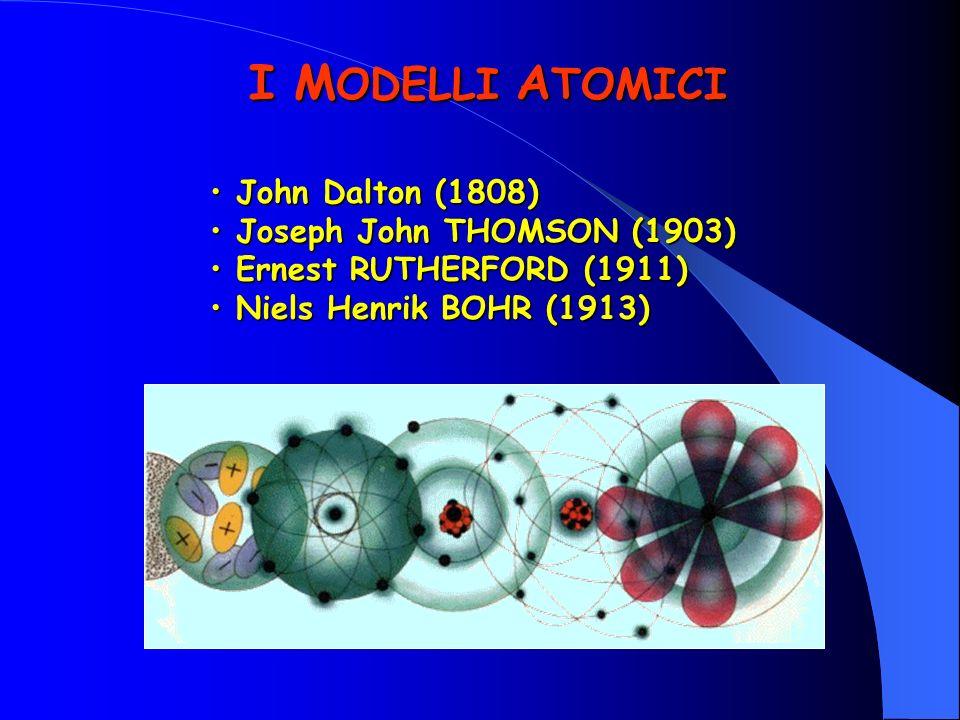 I MODELLI ATOMICI John Dalton (1808) Joseph John THOMSON (1903)