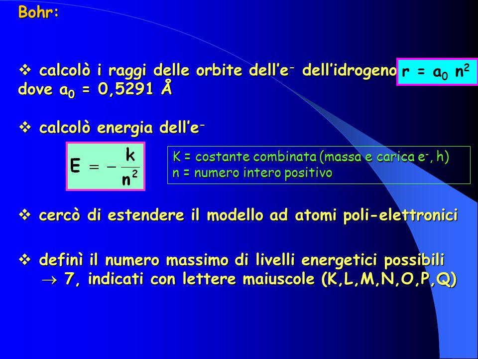 calcolò i raggi delle orbite dell'e- dell'idrogeno dove a0 = 0,5291 Å