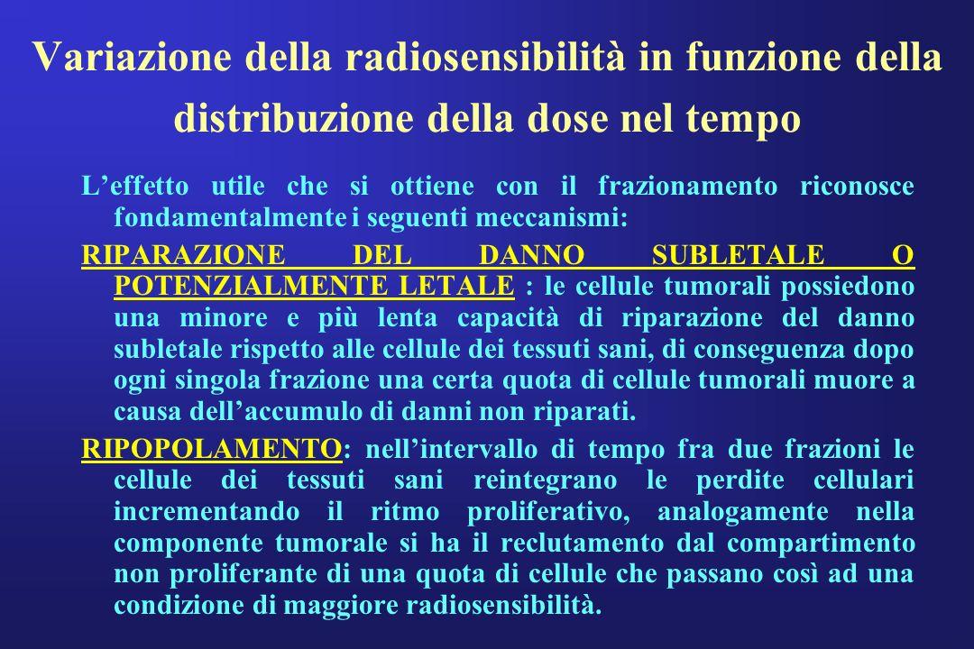 Variazione della radiosensibilità in funzione della distribuzione della dose nel tempo