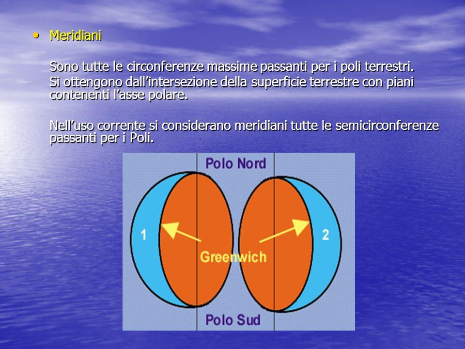 Meridiani Sono tutte le circonferenze massime passanti per i poli terrestri.