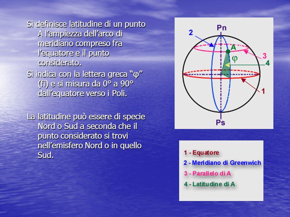 Si definisce latitudine di un punto A l'ampiezza dell'arco di meridiano compreso fra l'equatore e il punto considerato.