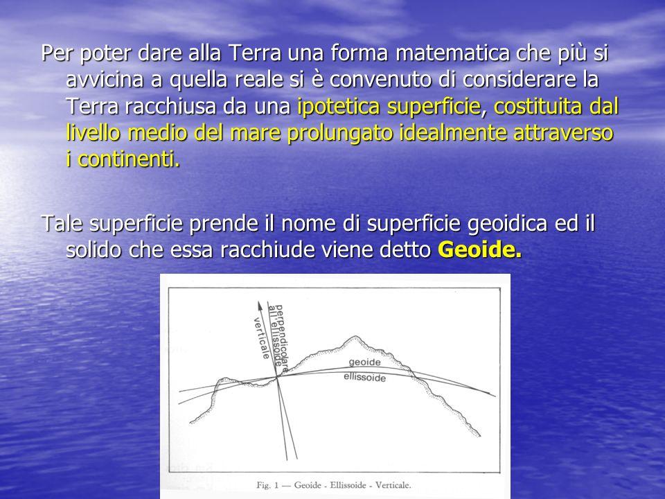 Per poter dare alla Terra una forma matematica che più si avvicina a quella reale si è convenuto di considerare la Terra racchiusa da una ipotetica superficie, costituita dal livello medio del mare prolungato idealmente attraverso i continenti.