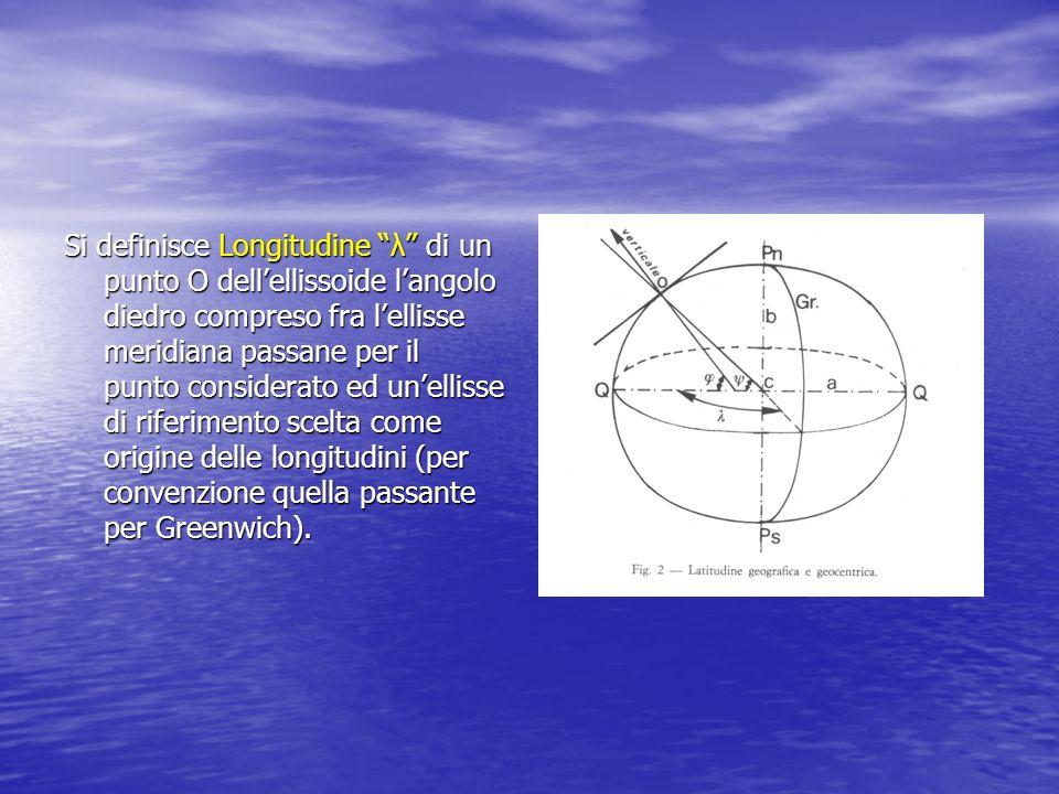Si definisce Longitudine λ di un punto O dell'ellissoide l'angolo diedro compreso fra l'ellisse meridiana passane per il punto considerato ed un'ellisse di riferimento scelta come origine delle longitudini (per convenzione quella passante per Greenwich).
