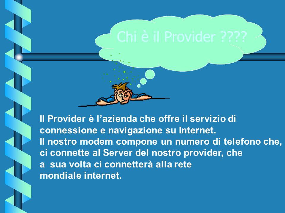 Chi è il Provider Il Provider è l'azienda che offre il servizio di. connessione e navigazione su Internet.