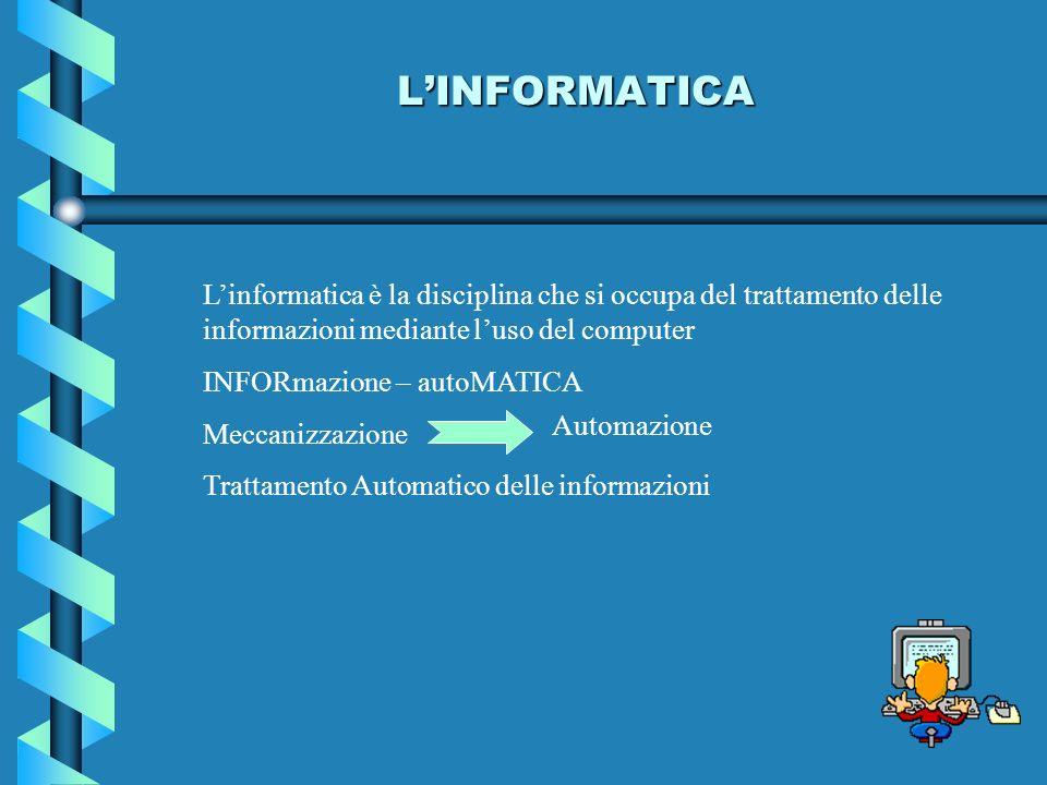 L'INFORMATICA L'informatica è la disciplina che si occupa del trattamento delle informazioni mediante l'uso del computer.