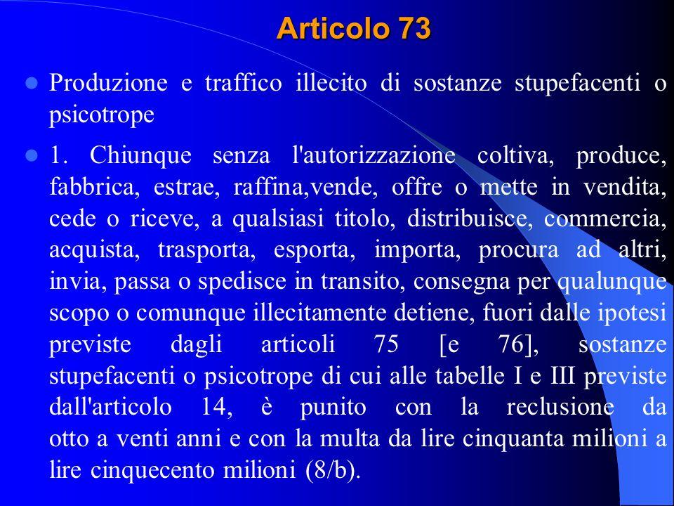 Articolo 73 Produzione e traffico illecito di sostanze stupefacenti o psicotrope.