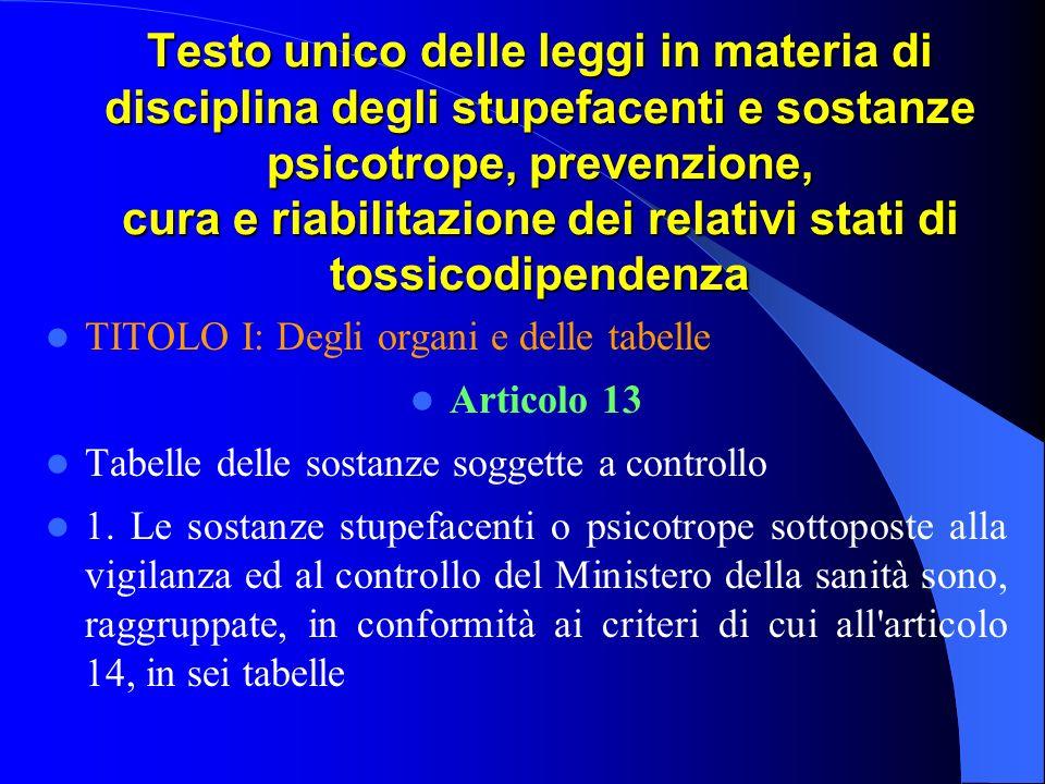 Testo unico delle leggi in materia di disciplina degli stupefacenti e sostanze psicotrope, prevenzione, cura e riabilitazione dei relativi stati di tossicodipendenza