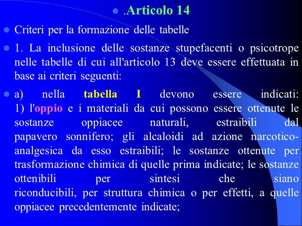.Articolo 14 Criteri per la formazione delle tabelle.