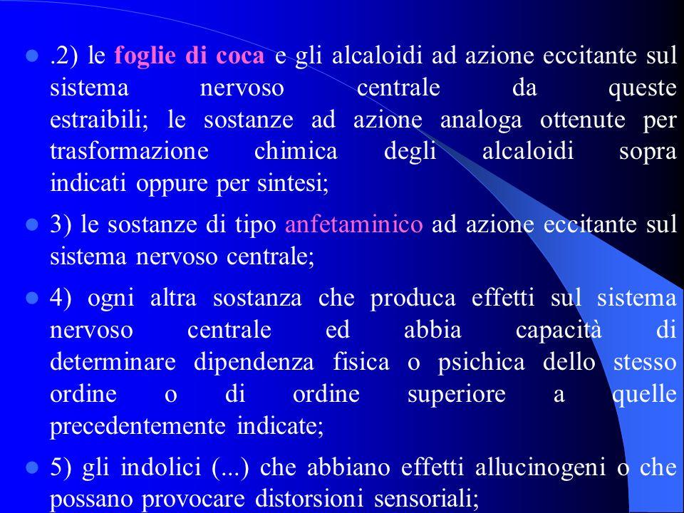 .2) le foglie di coca e gli alcaloidi ad azione eccitante sul sistema nervoso centrale da queste estraibili; le sostanze ad azione analoga ottenute per trasformazione chimica degli alcaloidi sopra indicati oppure per sintesi;