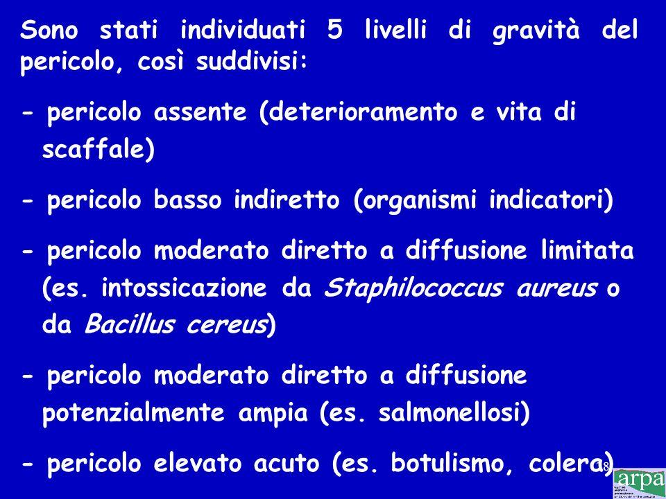 Sono stati individuati 5 livelli di gravità del pericolo, così suddivisi: