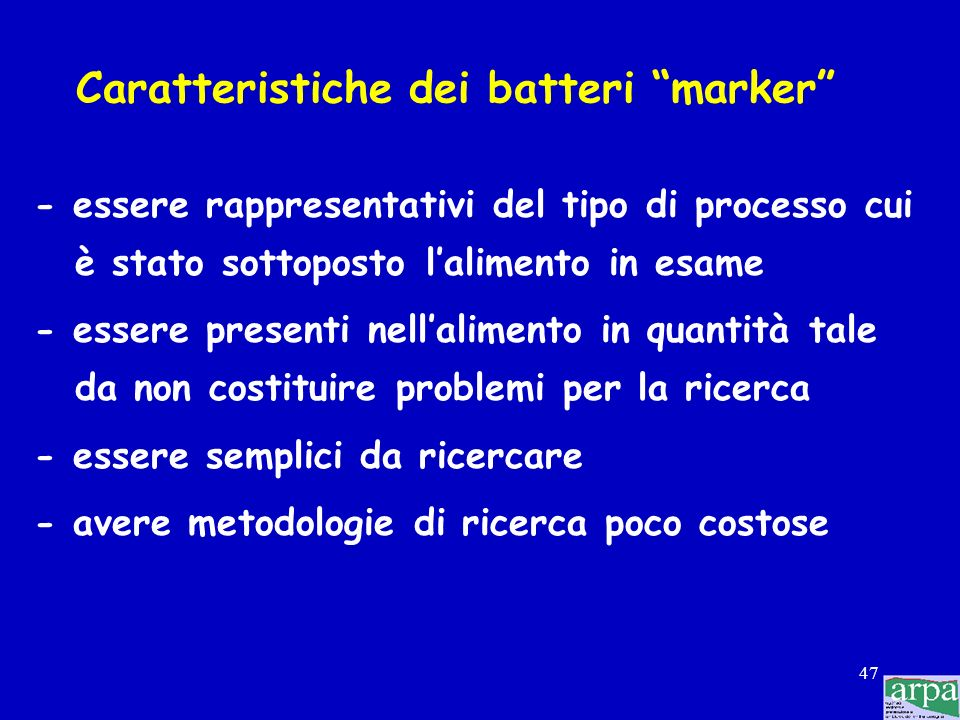 Caratteristiche dei batteri marker