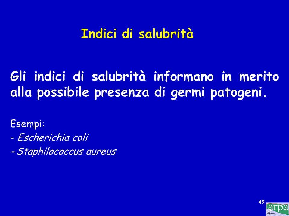 Indici di salubrità Gli indici di salubrità informano in merito alla possibile presenza di germi patogeni.