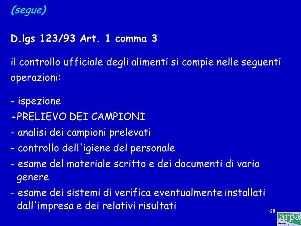 (segue)D.lgs 123/93 Art. 1 comma 3. il controllo ufficiale degli alimenti si compie nelle seguenti.