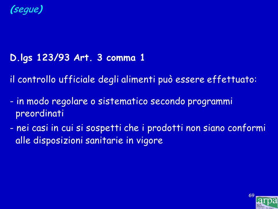 (segue) D.lgs 123/93 Art. 3 comma 1. il controllo ufficiale degli alimenti può essere effettuato:
