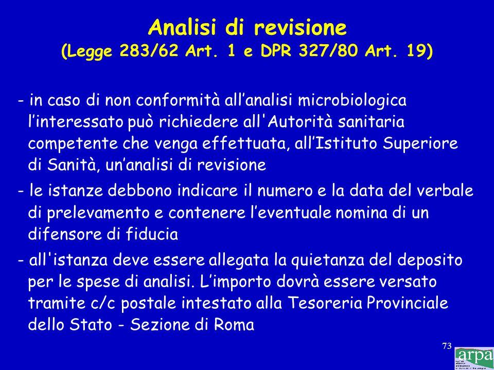 Analisi di revisione (Legge 283/62 Art. 1 e DPR 327/80 Art. 19)