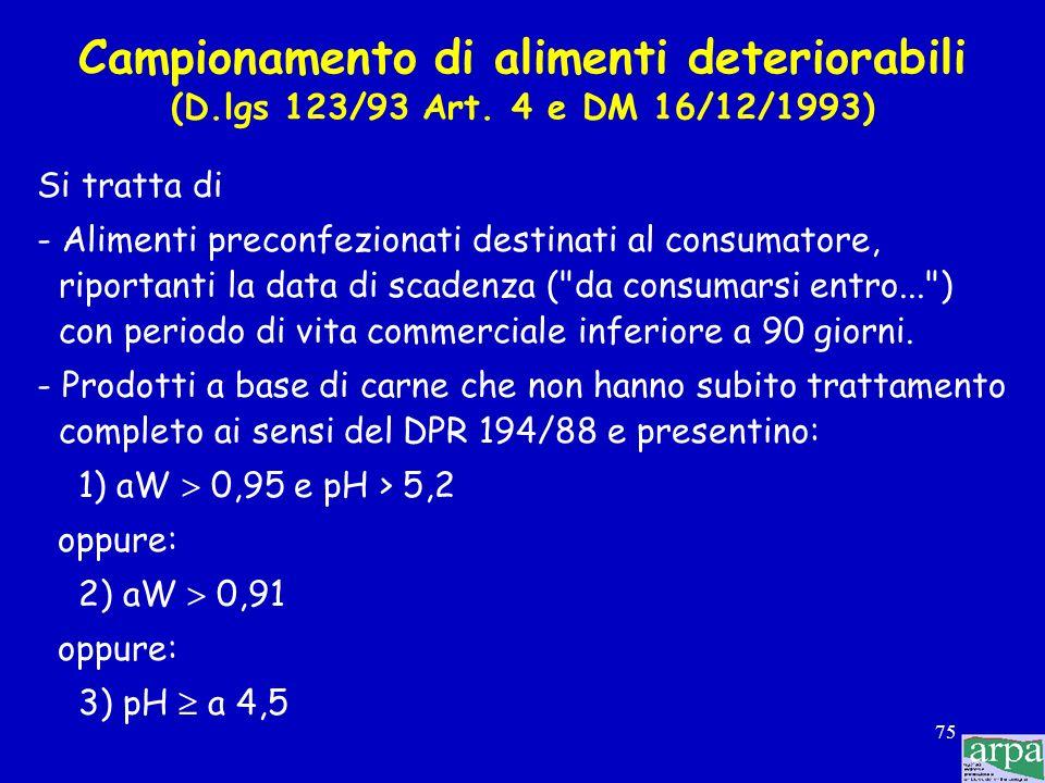 Campionamento di alimenti deteriorabili (D. lgs 123/93 Art