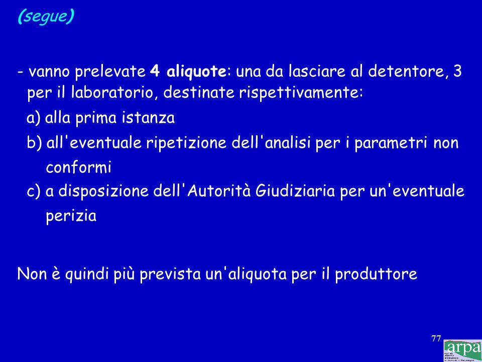(segue)- vanno prelevate 4 aliquote: una da lasciare al detentore, 3 per il laboratorio, destinate rispettivamente:
