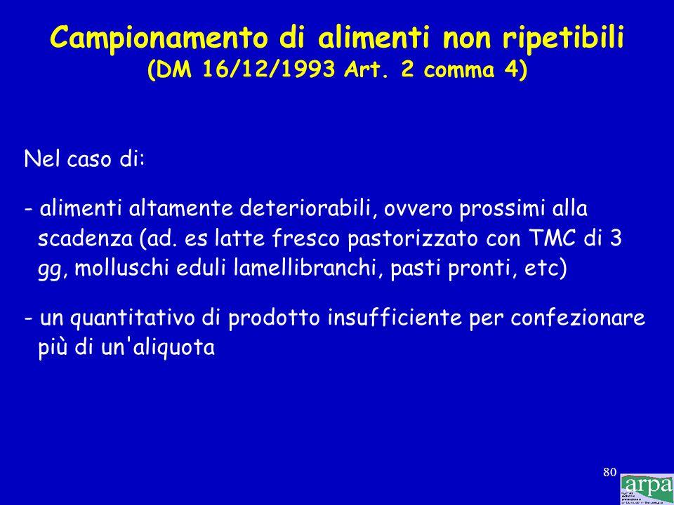 Campionamento di alimenti non ripetibili (DM 16/12/1993 Art. 2 comma 4)