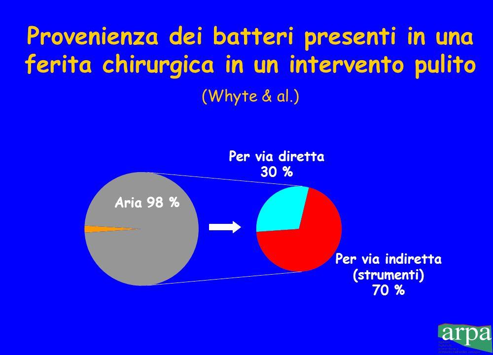 Provenienza dei batteri presenti in una ferita chirurgica in un intervento pulito (Whyte & al.)