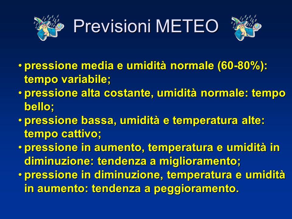 Previsioni METEO pressione media e umidità normale (60-80%): tempo variabile; pressione alta costante, umidità normale: tempo bello;