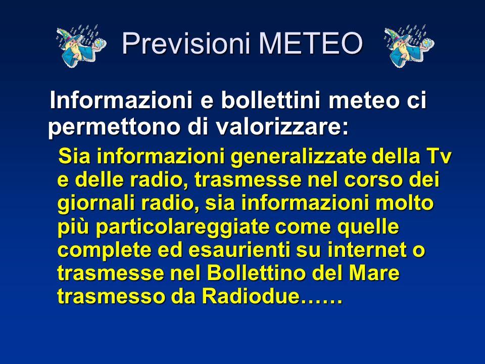 Previsioni METEO Informazioni e bollettini meteo ci permettono di valorizzare: