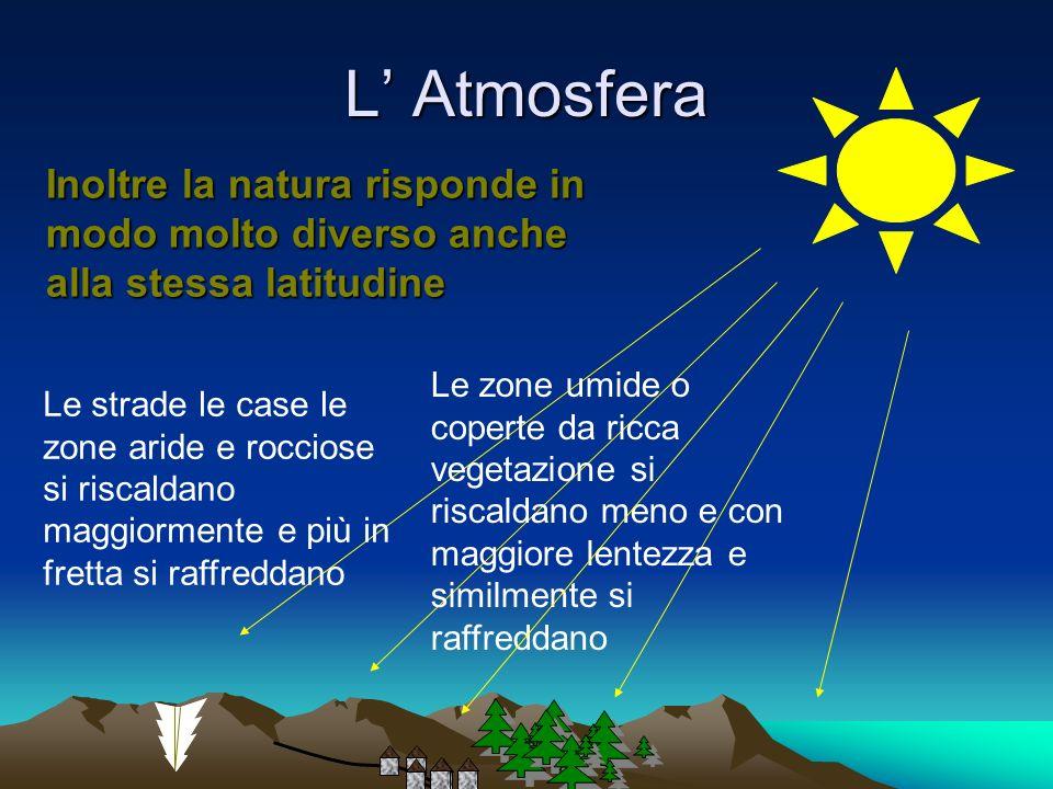 L' Atmosfera Inoltre la natura risponde in modo molto diverso anche alla stessa latitudine.