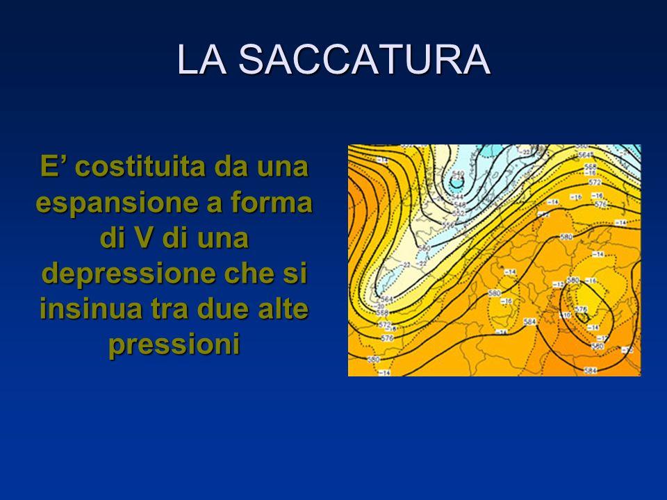 LA SACCATURA E' costituita da una espansione a forma di V di una depressione che si insinua tra due alte pressioni.