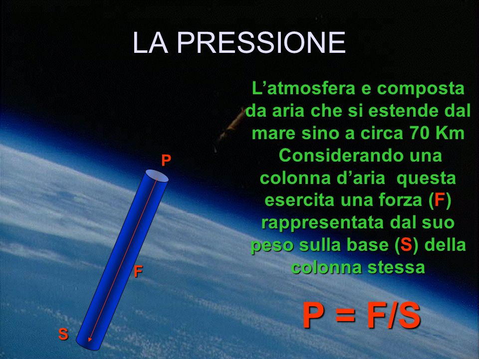 LA PRESSIONE L'atmosfera e composta da aria che si estende dal mare sino a circa 70 Km.