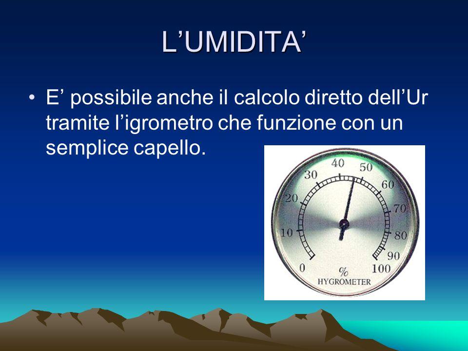 L'UMIDITA' E' possibile anche il calcolo diretto dell'Ur tramite l'igrometro che funzione con un semplice capello.