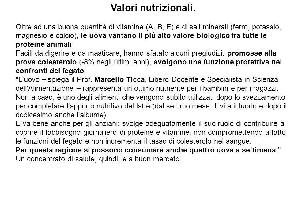 Valori nutrizionali.