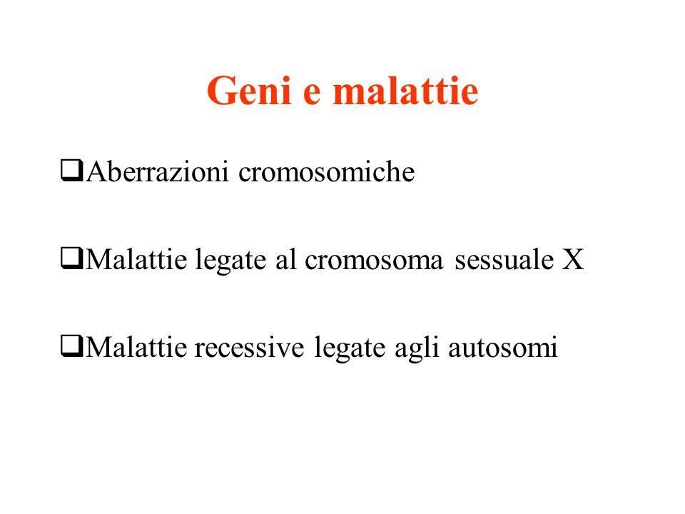 Geni e malattie Aberrazioni cromosomiche
