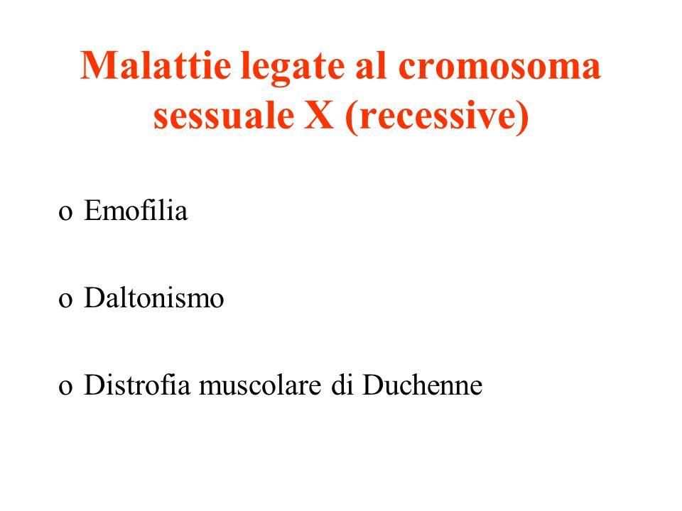 Malattie legate al cromosoma sessuale X (recessive)