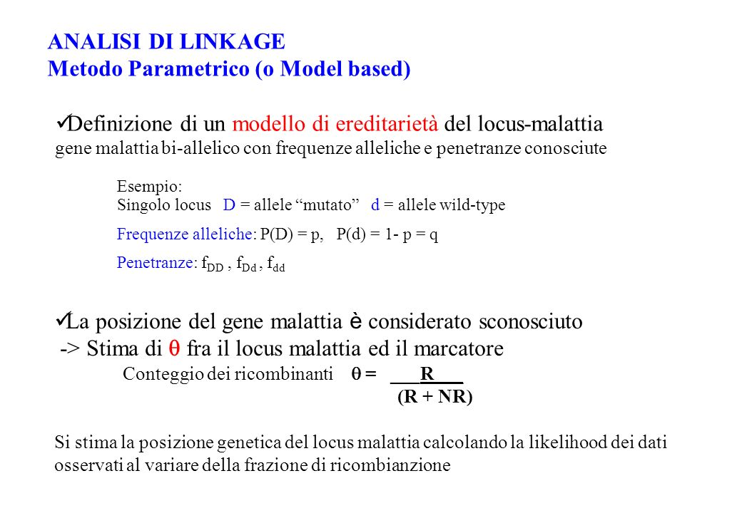Metodo Parametrico (o Model based)