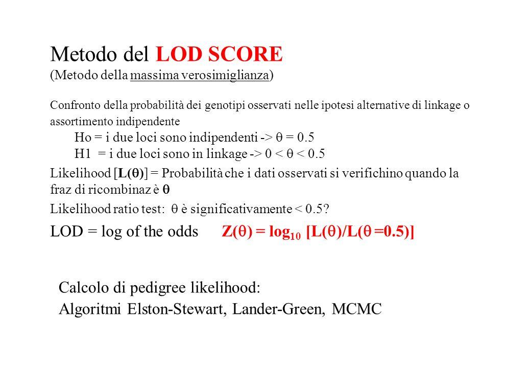 Metodo del LOD SCORE (Metodo della massima verosimiglianza)