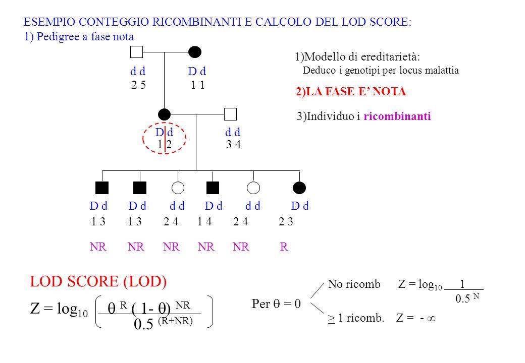 LOD SCORE (LOD) Z = log10  R ( 1- ) NR 0.5 (R+NR) Per  = 0