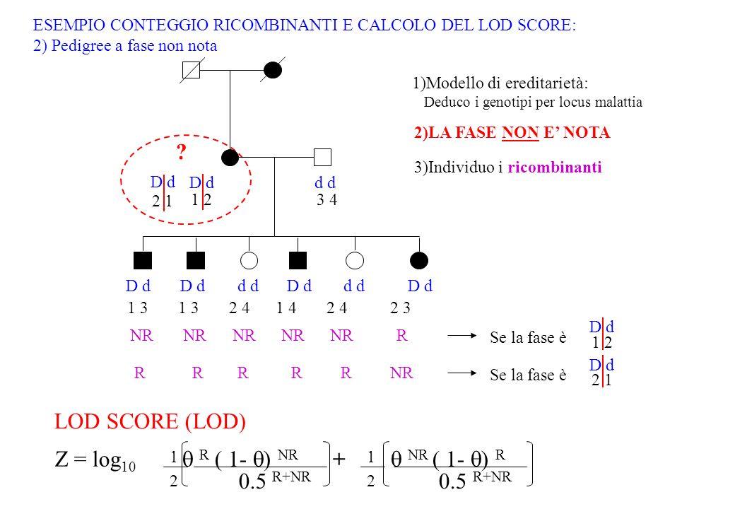 Z = log10  R ( 1- ) NR +  NR ( 1- ) R 0.5 R+NR LOD SCORE (LOD)