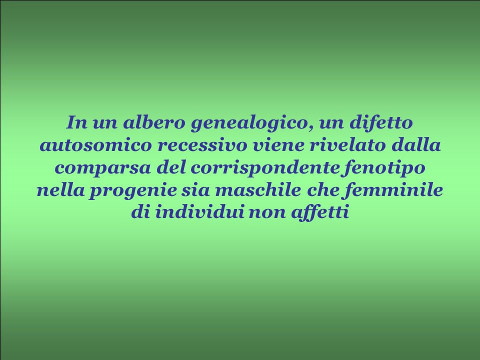 In un albero genealogico, un difetto autosomico recessivo viene rivelato dalla comparsa del corrispondente fenotipo nella progenie sia maschile che femminile di individui non affetti