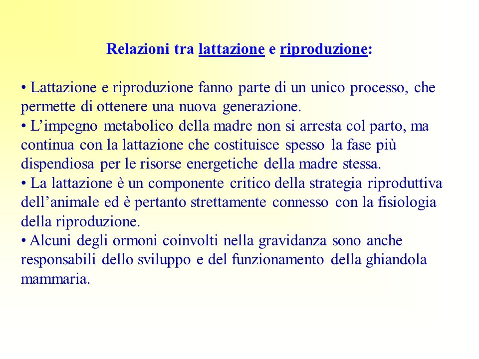 Relazioni tra lattazione e riproduzione: