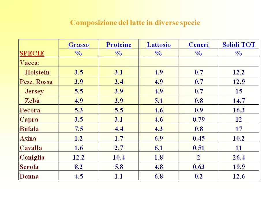 Composizione del latte in diverse specie